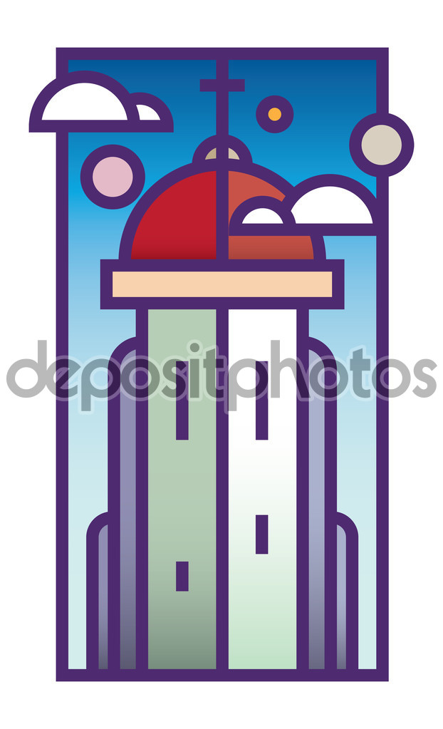 Church tower flat line illustration — Stock Vector © EnginKorkmaz.