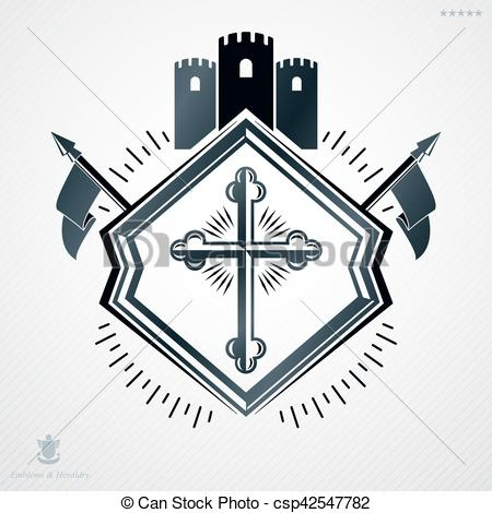 Vector of Heraldic sign made using vector vintage elements.