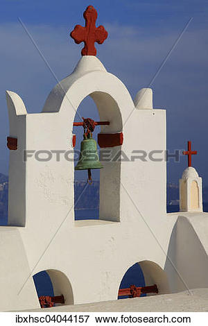"Picture of ""Bell Tower, Cross painted red, Oia, Santorini."