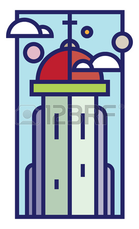 Flat Line Style Vector Illustration Of A Church Tower With Cross.