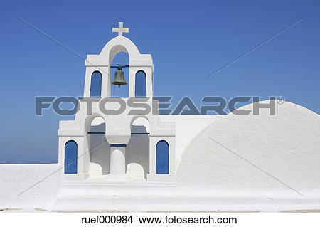 Stock Photo of Greece, Santorini, Whitewashed traditionally Greek.
