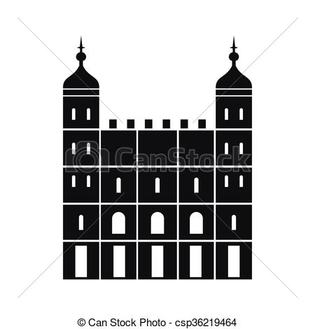 Clip Art Vector of Tower of London in England icon, simple style.