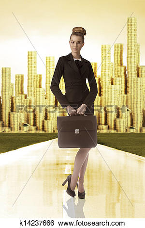 Stock Images of business woman with tower of gold money on the.