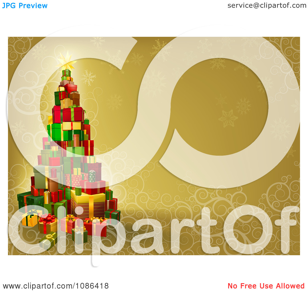 Clipart 3d Gift Tower Christmas Tree Over Gold With Snowflakes And.