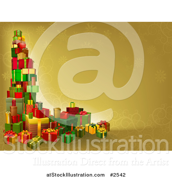 Vector Illustration of a 3d Tower of Christmas Gifts on a Gold.