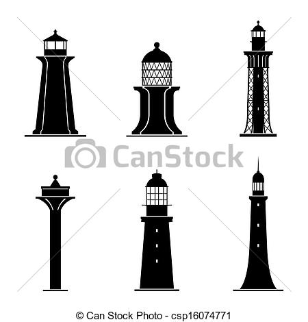 Vectors Illustration of Light towers.