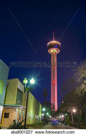 Picture of USA, Texas, San Antonio, Tower of the Americas at night.