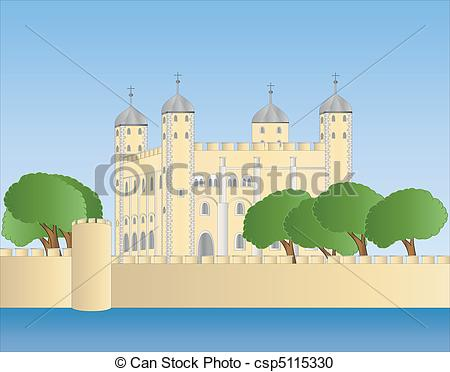 Vector Clipart of white tower of London.