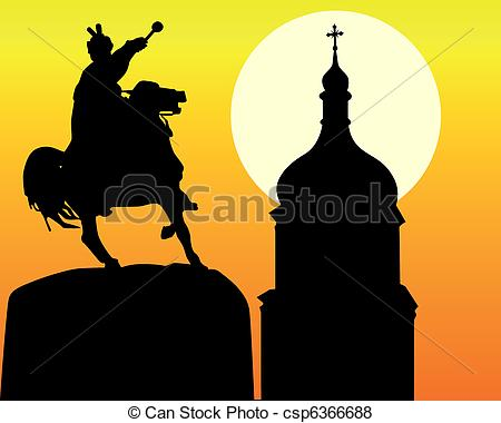 Vector of Khmelnytsky monument and tower of the church in Kiev.