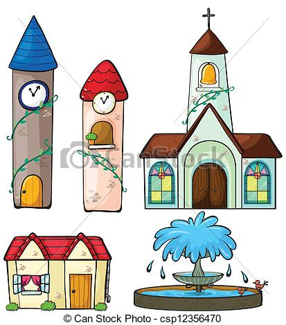 Vectors Illustration of A clock tower, church, house and fountain.
