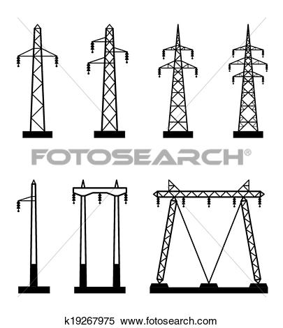 Clipart of Electrical transmission tower types k19267975.