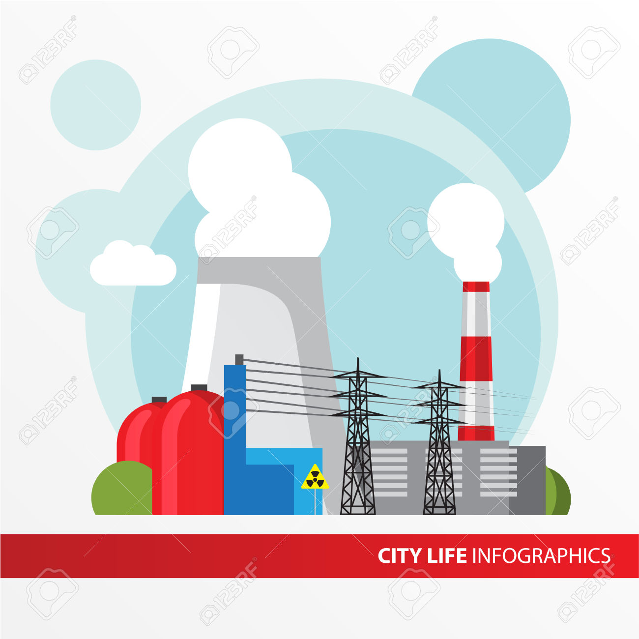 Nuclear Power Plant. Colorful Illustration In A Flat Style. City.