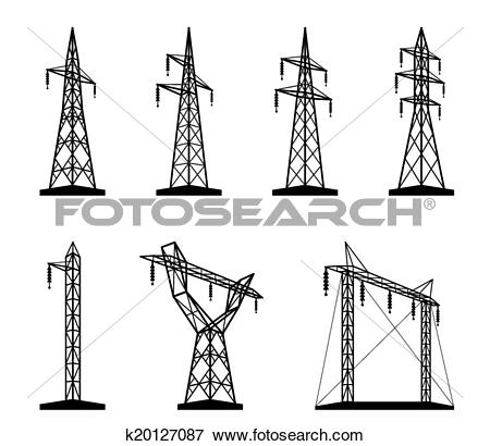 Clip Art of Electrical transmission tower types k20127087.