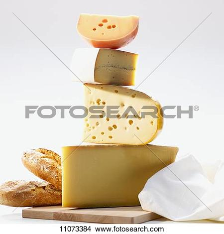 Stock Photo of A tower of various types of French cheese 11073384.