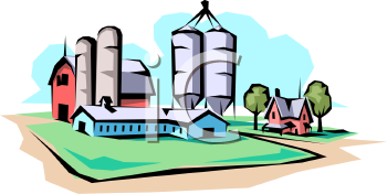 Commercial Barn with Silos and a Farmhouse.