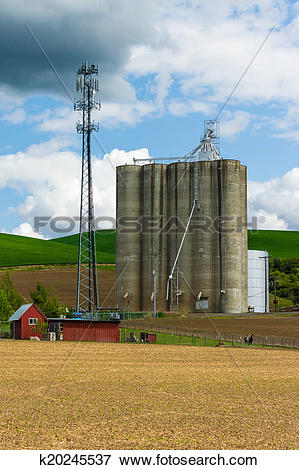 Picture of Grain silo with a cell phone tower k20245537.