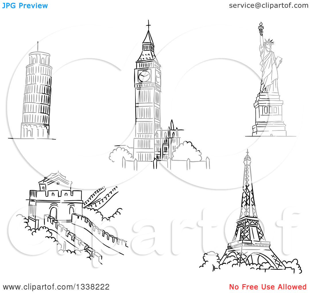 Clipart of Black and White Sketches of the Leaning Tower of Pisa.