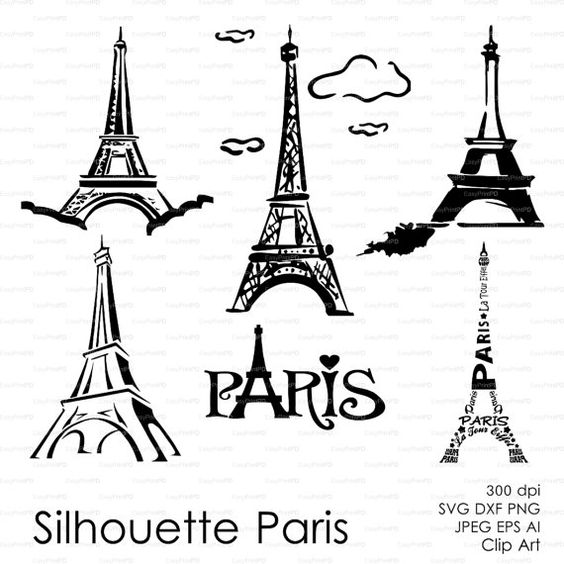 Silhouette Paris, Eiffel Tower (eps, svg, dxf, ai, png) french.