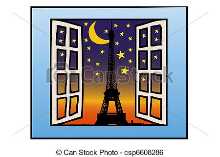 Stock Illustration of A Window on the Eiffel Tower.