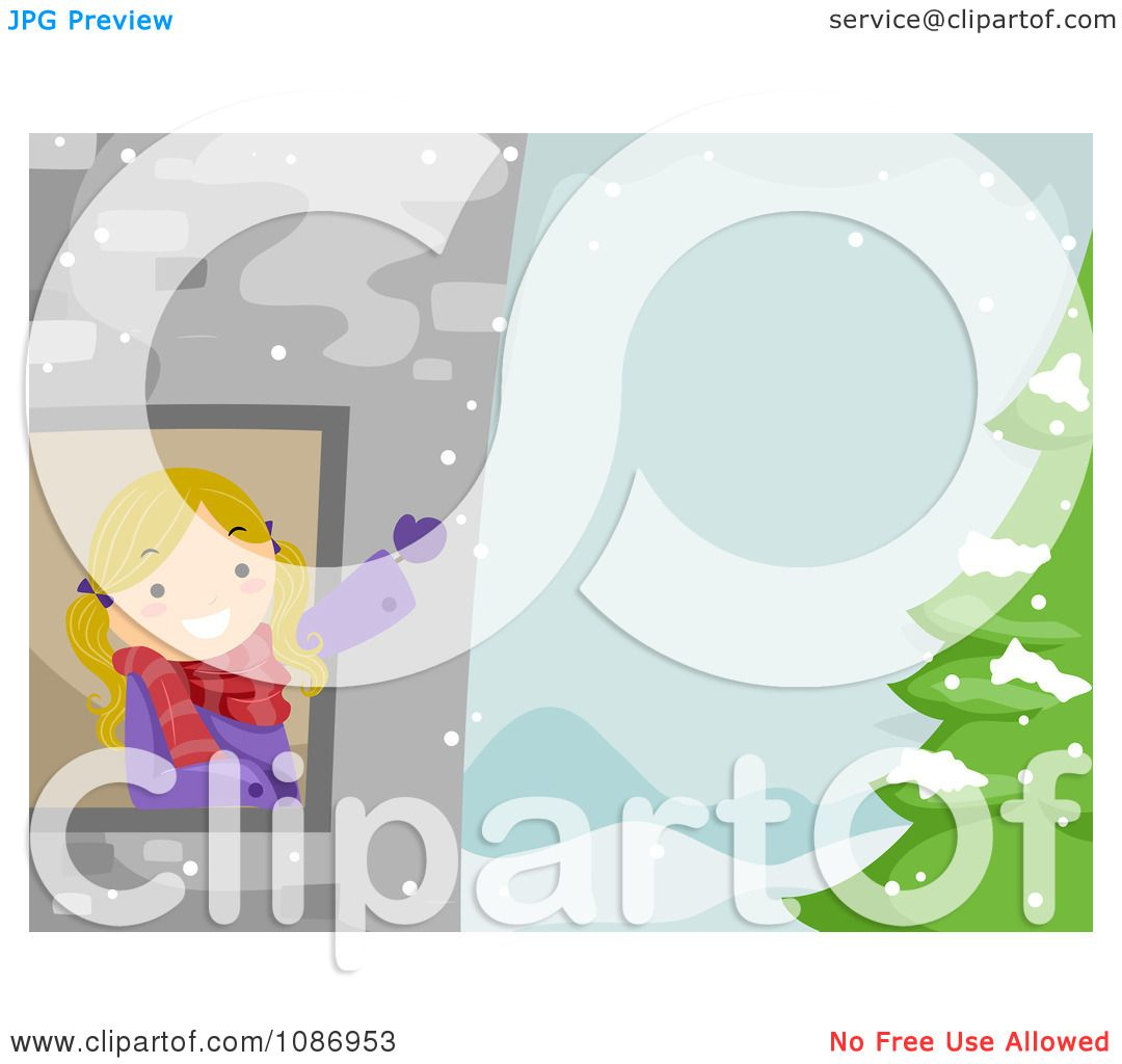 Clipart Girl Waving From A Tower Window In A Winter Landscape.