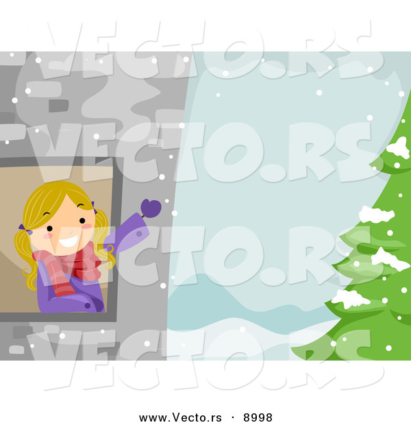 Cartoon Vector of a Happy Girl Waving from a Tower Window with.
