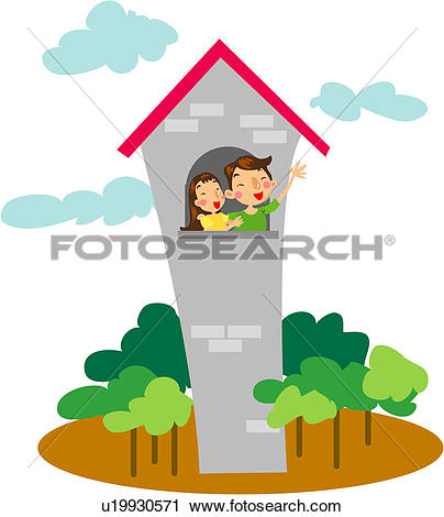 Clipart of hand gesture, house, window, roof, couple, tower.
