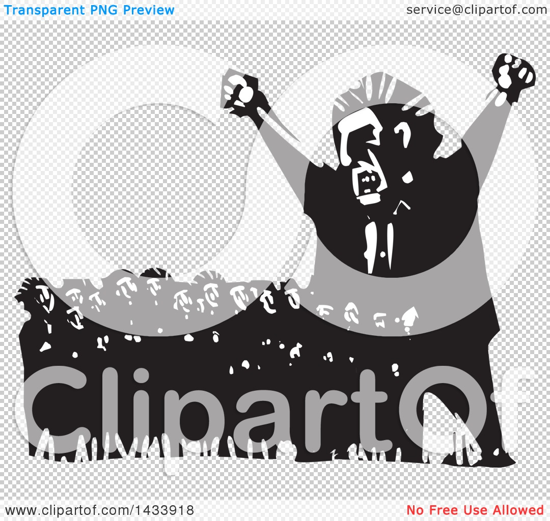 Clipart of a Black and White Woodcut Angry Man Shouting and.