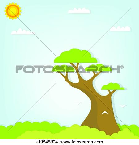 Clipart of large tree towering over the forest k19548804.