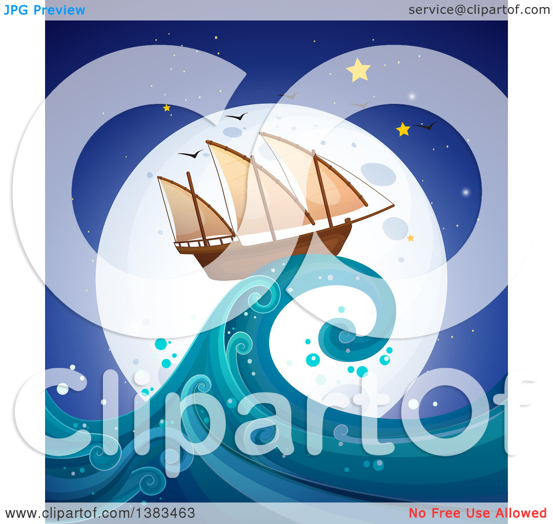 Clipart of a Ship on Top of a Wave Towering a Lighthouse Against a.