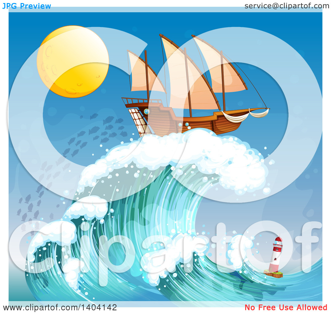 Clipart of a Ship on Top of a Wave Towering a Lighthouse at Night.