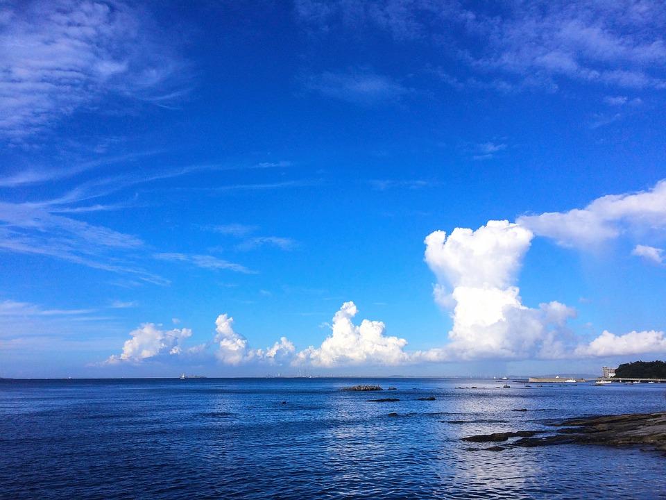 Free photo Blue Sky Typhoon Towering Cumulus Clouds Observed.