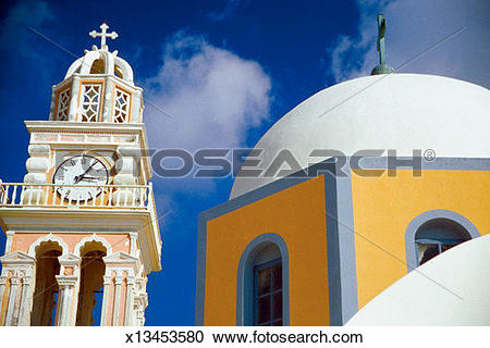 Stock Photography of Low angle view of a clock tower and dome of a.