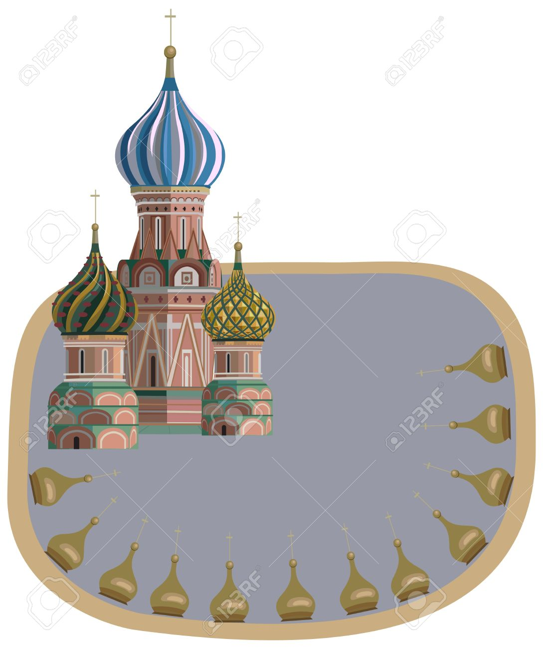 Frame Illustration With Kremlin Towers, Isolated On White Royalty.