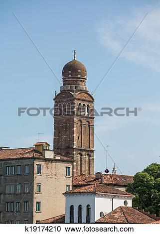 Stock Photography of Onion Dome Bell Tower in Venice k19174210.