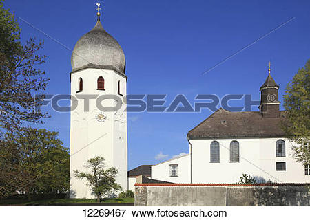 Picture of Tower with onion shaped dome; Die Fraueninsel, Bayern.