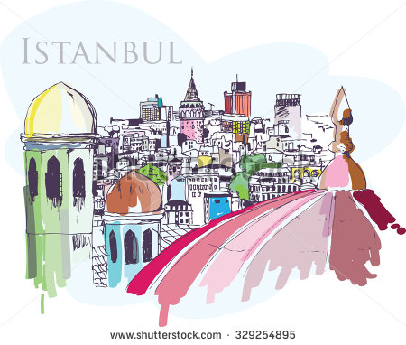 Handmade Digital Tablet Drawing Of Istanbul City View With Galata.