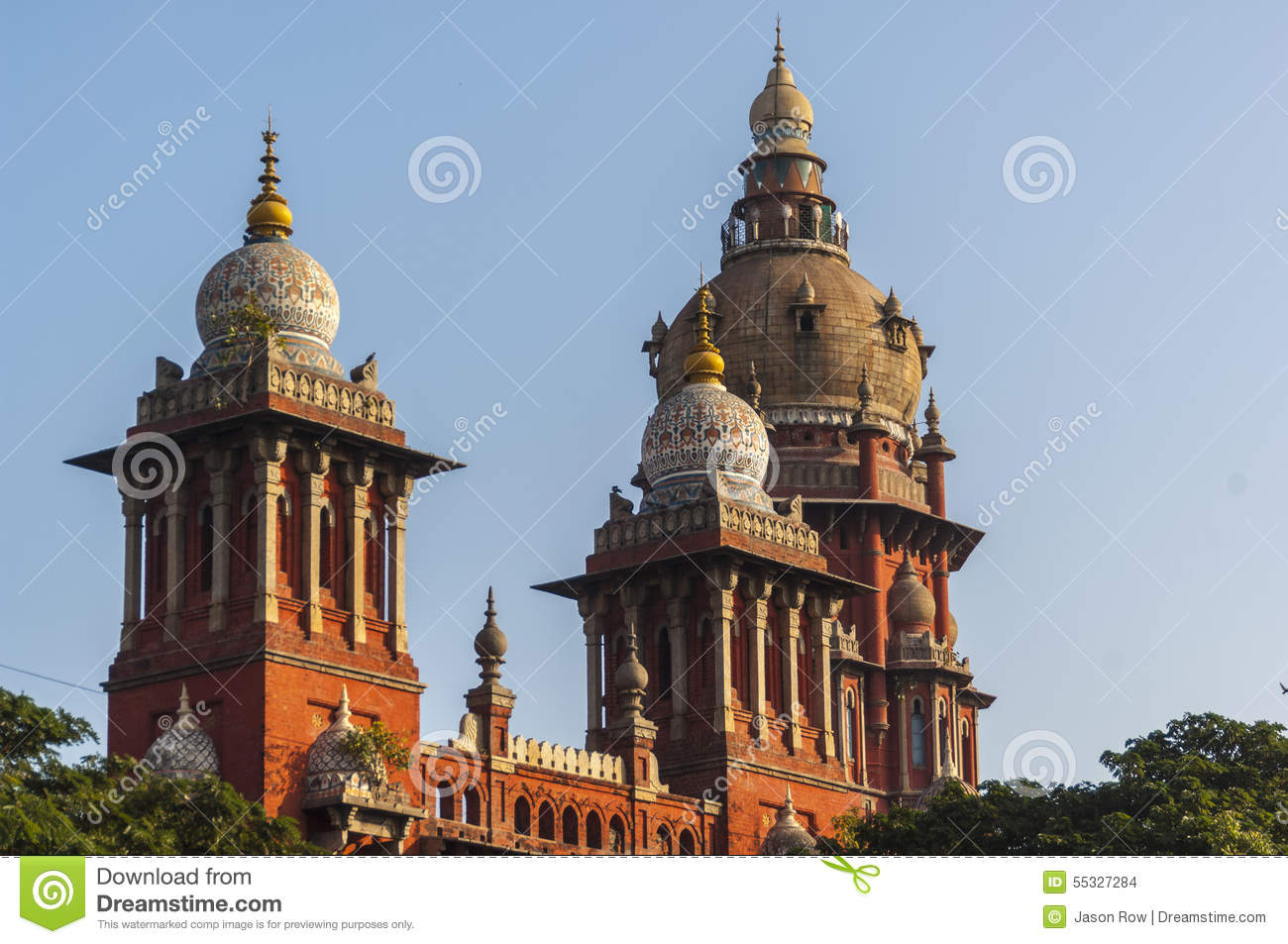Towers And Domes Of The High Court In Chennai, Stock Photo.