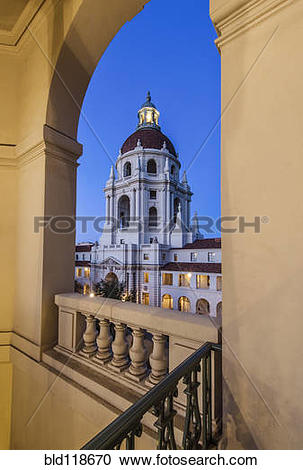 Stock Photography of Pasadena city hall, with the central tower.