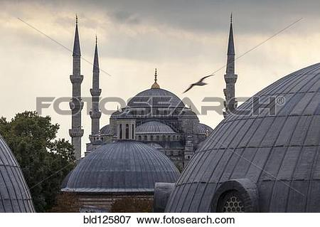 Picture of Domes and towers of Blue Mosque, Istanbul, Turkey.