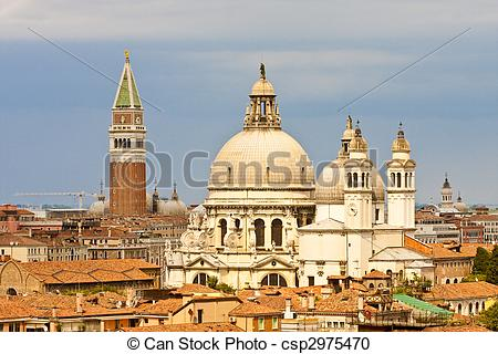 Stock Photography of Two Domes and Three Bell Towers in Venice.