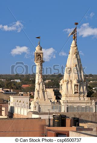 Picture of Spires of Hindu temple tower over roofs of Nagaur in.