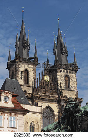 Stock Photo of A church building with two towers and multiple.