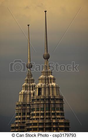 Stock Photos of Petronas Towers Spires at Twilight in Kuala Lumpur.