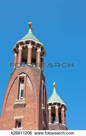 Stock Images of Church Twin Spires and Towers k26811206.