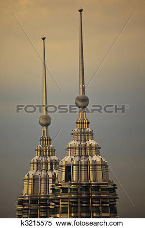 Stock Image of Spires at the Top of Petronas Towers at Twilight.
