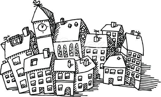 Town Clipart Black And White.