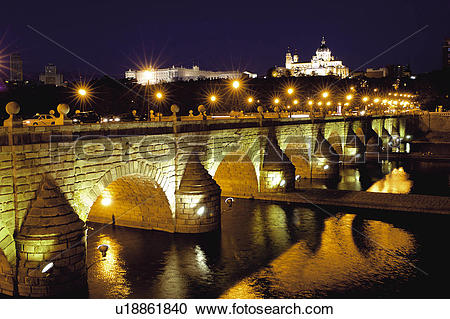 Stock Photography of Spain, Madrid, City, Town, Bridge, Arch.