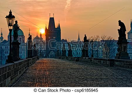 Stock Images of Charles Bridge Prague Sunrise.