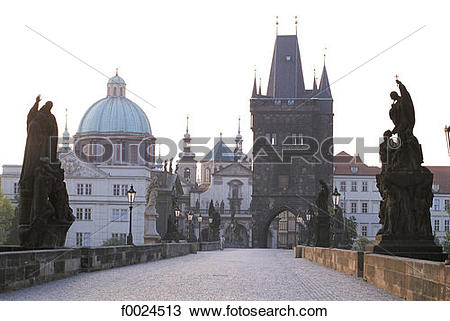 Stock Photo of Czech Republic, Prague, Charles Bridge and Old Town.