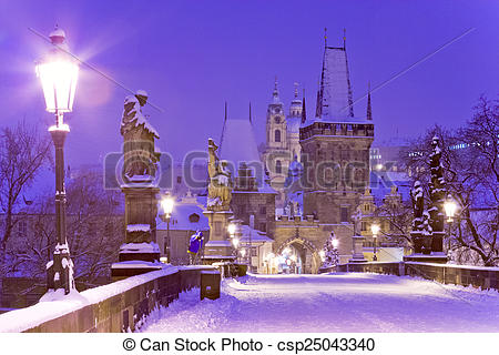 Stock Photo of Charles bridge, Oldl Town bridge tower, Prague.